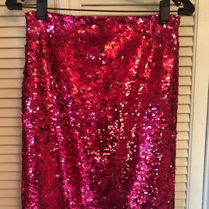 Alice + Olivia hot pink sequined pencil skirt NWT